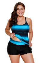 Blue Black Ombre Strappy Back Plus Size Tankini Top