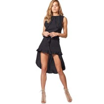 Black Tie Waist Irregukar Casual Dress