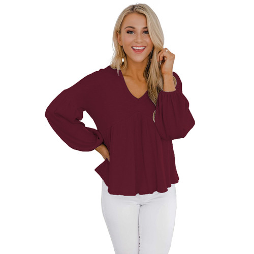 Wine Red Lantern Sleeve Loose Style Fashion Tops TQK210429-103