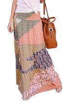 Orange Boho Print Tie-Up Waist Long Maxi Skirt LC65265-14