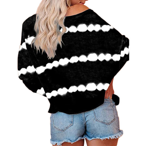 Black Striped Casual Style Long Sleeve Tops TQK210433-2