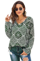 Green Long Sleeve V Neck Printed Chiffon Blouse