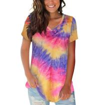 Purple V Neck Tie Dye Short Sleeve Tees TQK210335-8