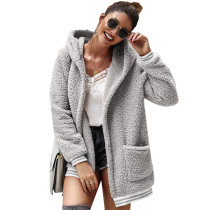 Light Gray Hooded Open Front Coat with Pockets TQK280021-25