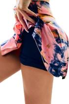 Pink Double-decker Tie-dye High Waist Sports Skirt Shorts LC263204-10