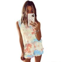 Orange Tie Dye Sleeveless Pajamas Set TQK710050-8