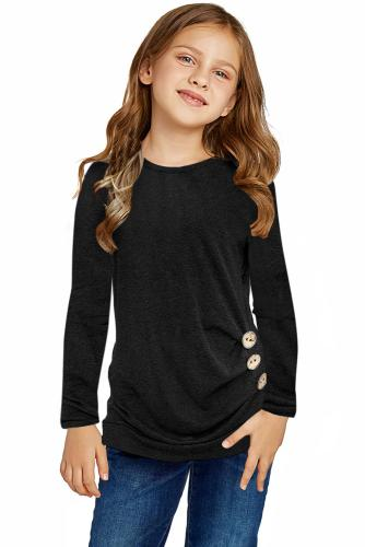 Black Little Girls Long Sleeve Buttoned Side Top TZ25122-2
