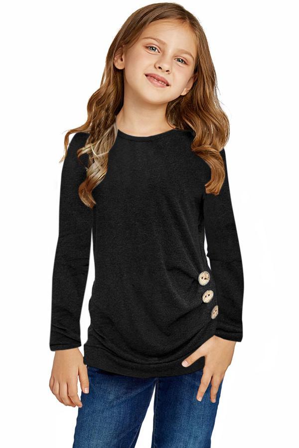 Black Little Girls Long Sleeve Buttoned Side Top TZ25122-2