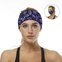 Navy Blue Leaf Print Sports Headband/ Scarf H00276-10