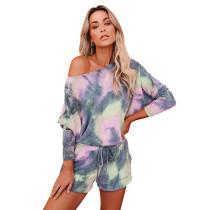 Pink Tie Dye Long Sleeve Pajama Set TQK710063-10