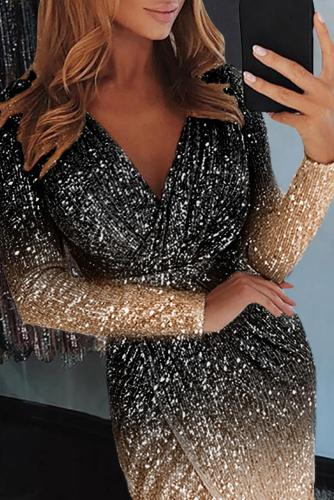 Black Ombre Sequin Wrapped Ruched Irregular Dress LC611529-2