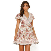 White Floral Print V Neck Tie Waist Boho Dress TQK310050-1