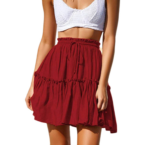 Wine Red A-line Ruffle Mini Skirt TQK350025-103