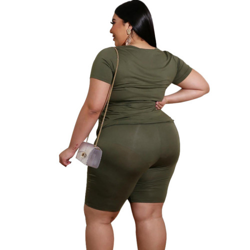 Army Green V Neck Plus Size Short Sleeve Shorts Set TQK710095-27