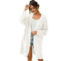 White Hollow Out Loose Knit Cardigan TQK270040-1