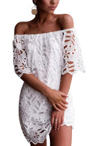 White Lace Detail Off The Shoulder Half Sleeve Dress LC221256-1