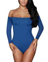 Blue Off Shoulder Long Sleeves Bodysuit TQ00107-5
