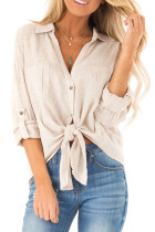 Beige Button up Front Tie Top LC252355-15