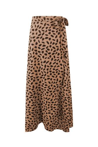 Khaki Spotted Printed Slit Long Skirt LC65272-16