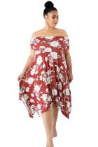 Burgundy Floral Print Off Shoulder Curvy Dress