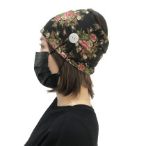 Black Floral Print Headband with Buttons H00268-2