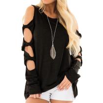 Black Cold Shoulder Unique Long Sleeve Tops TQS210037-2