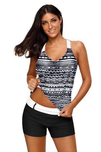 Black Fuzzy Stripes Strappy Back Tankini Top LC410458-101