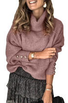 Lantern Sleeve Turtleneck Pullover Sweater LC272009-3