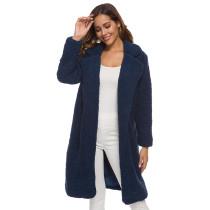 Navy Blue Turndown Collar Long Furry Coat TQK280041-34