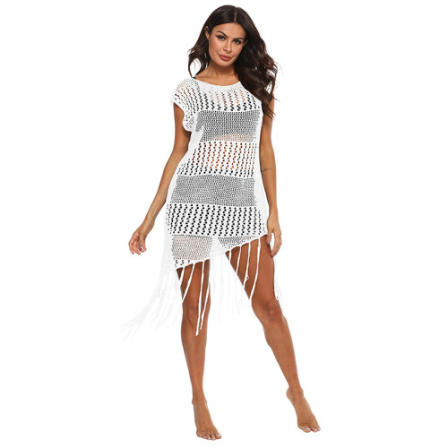 White Knitted Beach Cover Up TQS650021-1