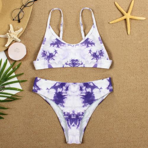 Purple Two-piece Tie Dye Bikini TQK610175-8