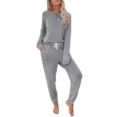 Gray Long Sleeve Home Wear Joggers Set TQK710033-11