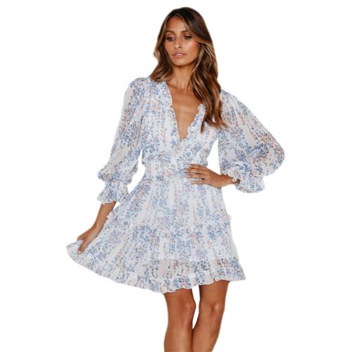 Multicolor V Neck Puff Sleeve Comfort Dress TQK310171-29