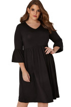 Black Flute Sleeves Plus Size Jersey Dress