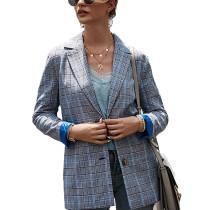 Gray Double Button Plaid Print Lady Blazer Suit TQK260029-11