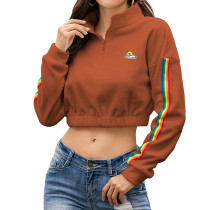 Brown Zipperd Up Crop Hoodie TQK230133-17