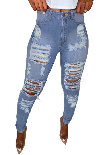 Light Blue Cut Out Distressed Ripped Pockets High Waisted Long Jeans LC78046-4