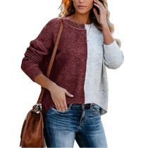 Wine Red Colorblock Oversize Knit Sweater TQK271100-103