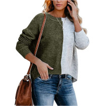 Army Green Colorblock Oversize Knit Sweater TQK271100-27