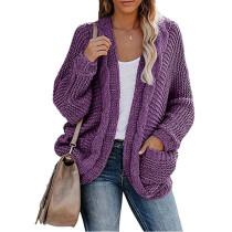 Purple Chunky Wide Open Front Knit Cardigan TQK271101-8