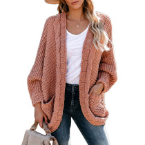 Pink Chunky Wide Open Front Knit Cardigan TQK271101-10