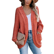 Orange Chunky Wide Open Front Knit Cardigan TQK271101-14