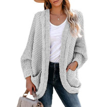 Light Gray Chunky Wide Open Front Knit Cardigan TQK271101-25