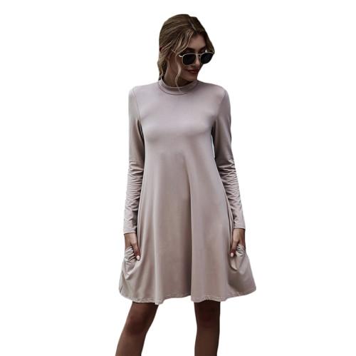 Khaki Stand Collar Long Sleeve Skater Dress TQK310350-21