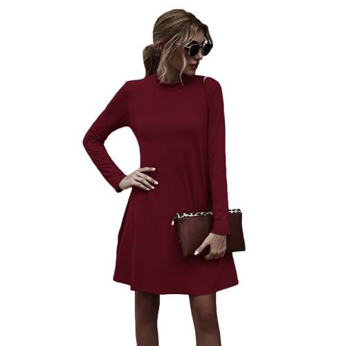 Wine Red Stand Collar Long Sleeve Skater Dress TQK310350-103