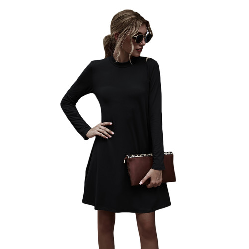 Black Stand Collar Long Sleeve Skater Dress TQK310350-2