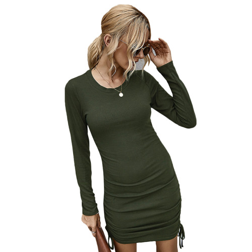 Army Green Long Sleeve Pleat Bodycon Dress TQK310357-27