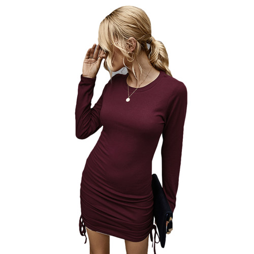 Wine Red Long Sleeve Pleat Bodycon Dress TQK310357-103