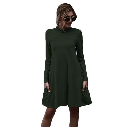 Army Green Stand Collar Long Sleeve Skater Dress TQK310350-27