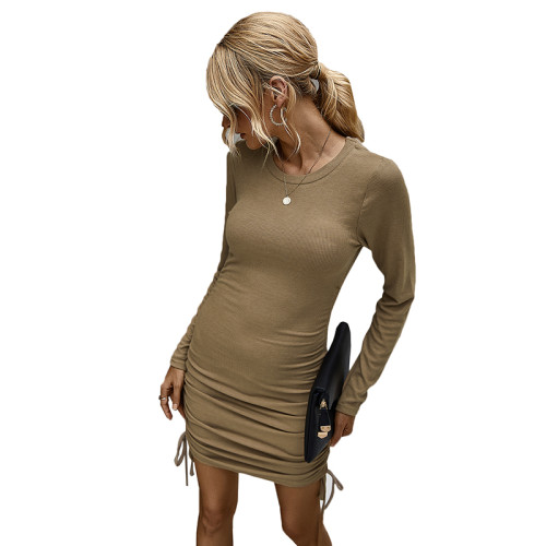 Khaki Long Sleeve Pleat Bodycon Dress TQK310357-21